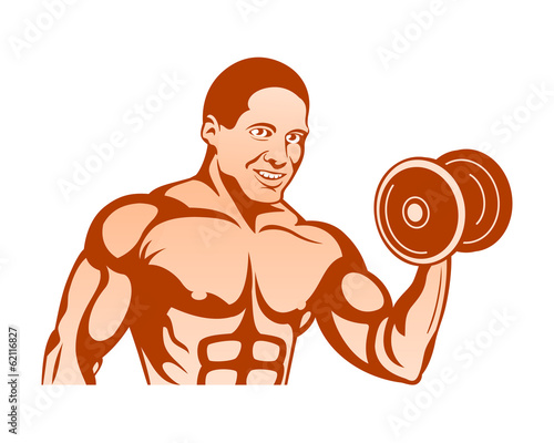 Cheerful bodybuilder at the training with dumbbells