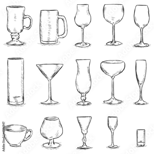 Vector Set of Sketch Stemware