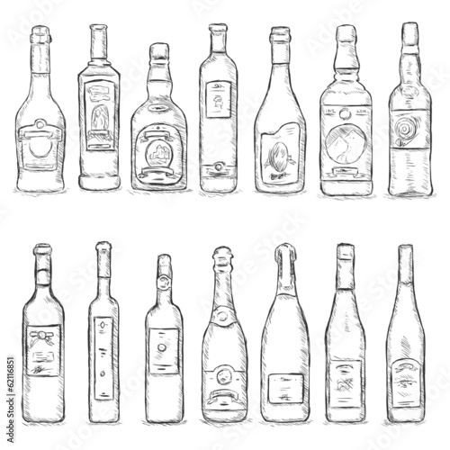 Vector Set of Sketch Bottles