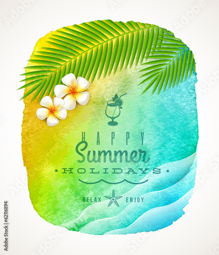Summer holiday greeting on a watercolor background banneer