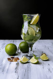 Ingredients for lemonade in glass,
