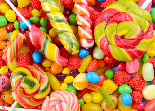 Fototapeta Different colorful fruit candy close-up