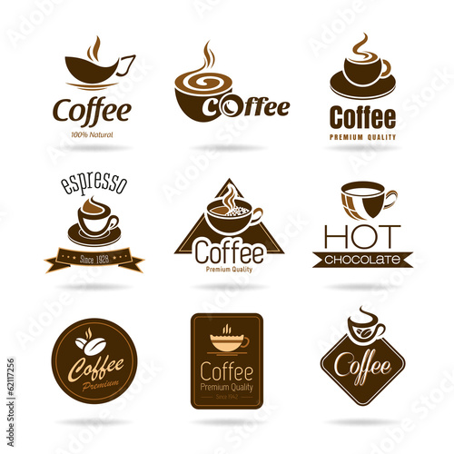 Tapeta Set of coffee badges and icon