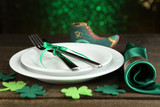Table setting for St Patricks Day with white background