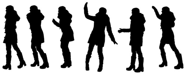 Vector silhouette of woman in winter clothes.