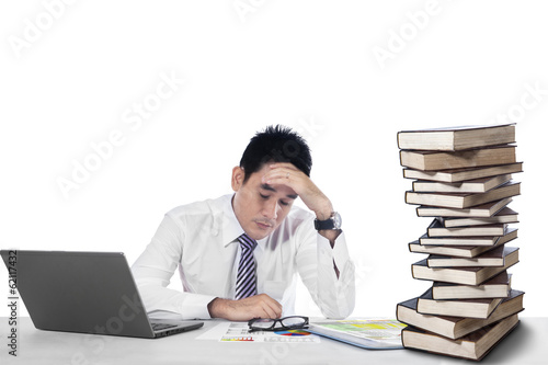 Overwhelmed businessman