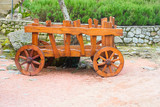 wooden cart with wooden wheels