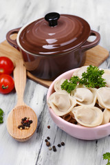 Meat dumplings - russian boiled pelmeni close up