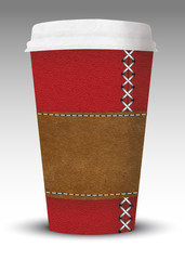 luxury leather coffe to go cup