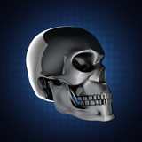 metal skull on blue background