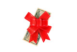 Dollars under a red bow on white