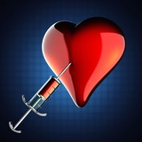 Glass syringe and heart on blue background