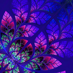 Fabulous fractal pattern in blue. Collection - tree foliage. Com