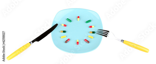 Medication schedule and meals. Conceptual photo. Isolated