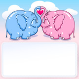 baby elephant in love banner