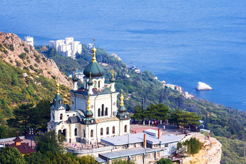 old orthodox church in mountains near Foros town. Crimea.