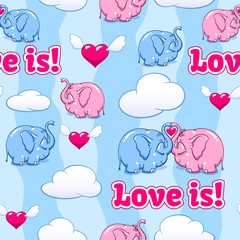 baby elephant in love pattern