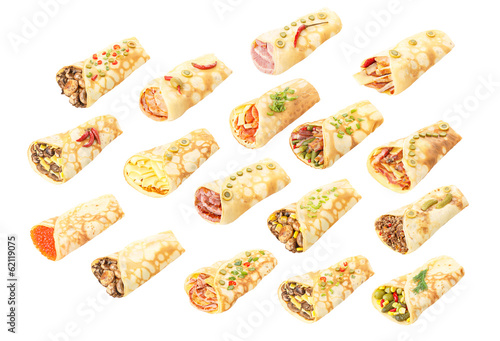 Poster Collection of stuffed crepes