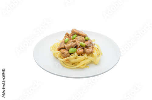 Pasta with mushroom and pea sauce
