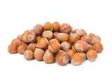 Hazelnut pile isolated on white background