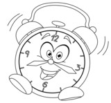 Outlined cartoon alarm clock