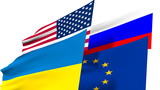 ukraine, russia, usa and eurounion national flags