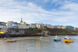 Boats in Welsh harbour of Tenby Pembrokeshire Wales