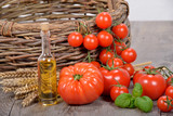 different tomatoes with olive oil