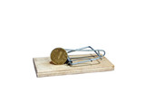 Charged mousetrap with bait in the form of copper coin