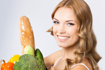 Woman with vegetarian food