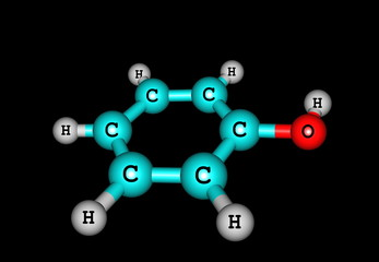 Phenol molecular structure isolated on black