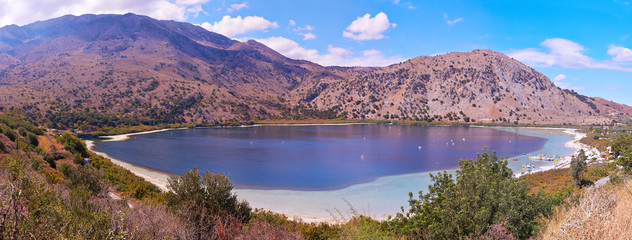 Panoramic view of lake Kournas  in Crete, Greece.