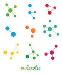 multicolored molecules symbols vector set