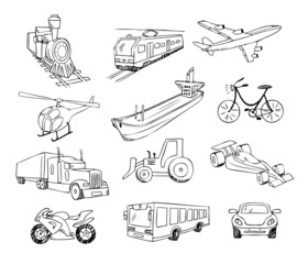transportation around the world vector set