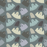 seamless pattern of ghosts
