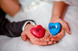 Hands of bride and groom holding stones with love and happiness