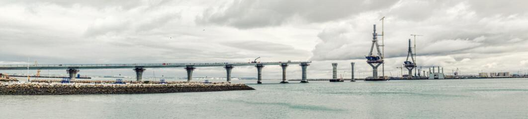Panoramic view of La Pepa Bridge construction. Cadiz city, Spain