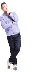 Thinking man isolated on white background