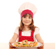 little girl cook with healthy salmon seafood