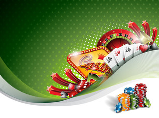Vector illustration on a casino theme with gambling elements