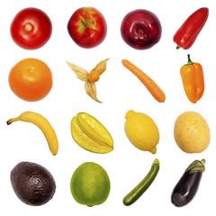 Verschiedenes Obst und Gemüse, freigestellt