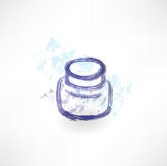 Ink jar grunge icon