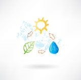 Water cycle grunge icon poster