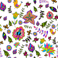 seamless multicolored beautiful flower pattern.