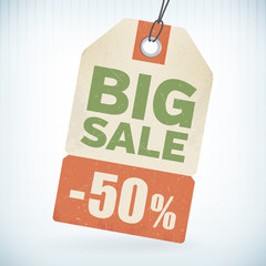 Realistic paper big sale 50 percent off price tag