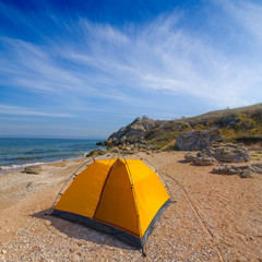 touristic tent on a sea coast