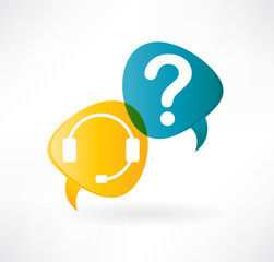 flat speech bubble icon with headphones and question mark