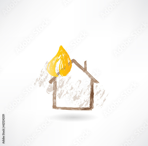 House fire grunge icon
