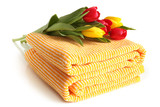 Bath towel with fresh tulips