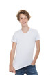 teen in blank t shirt